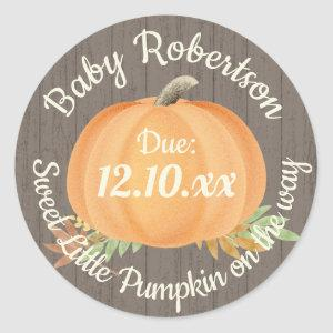 Fall Pumpkin Baby Shower Rustic Classic Round Sticker