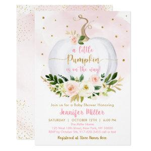 Fall Pumpkin Pink Gold Girl Baby Shower Invitation