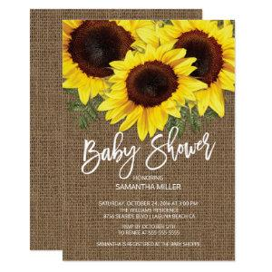 Fall Sunflowers Neutral Baby Shower Invitation