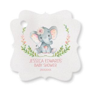 Fancy girl's elephant baby shower tag