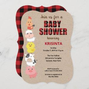 Farm Animals Red Plaid Baby Shower Invitation