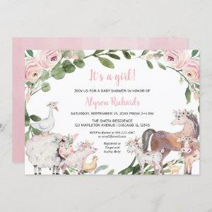 Farm animals watercolor floral girl baby shower