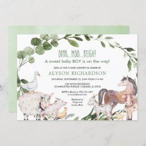 Farm barnyard animals greenery boy baby shower invitation
