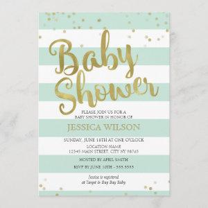 Faux Gold Foil, Mint Green Stripes Baby Shower Invitation