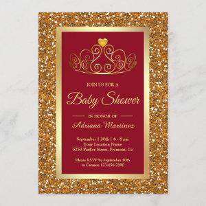 Faux Gold Glitter Tiara Princess Red Baby Shower Invitation