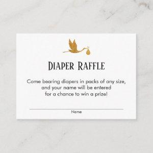 Faux Gold Stork Baby Shower Diaper Raffle Tickets Enclosure Card