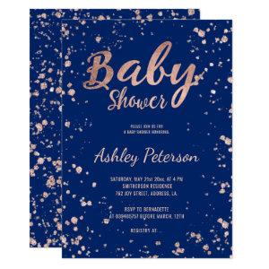 Faux rose gold confetti navy blue baby shower invitation