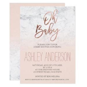 Faux rose gold typography marble blush Baby shower Invitation