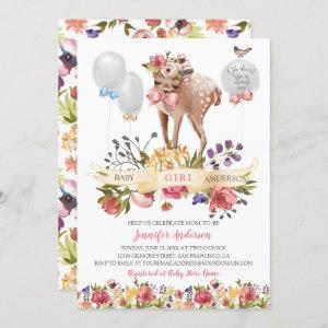 Fawn Flowers Balloons Baby Girl Shower Invitation