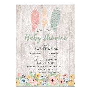 Feathers Floral Boho Baby Shower Invitation