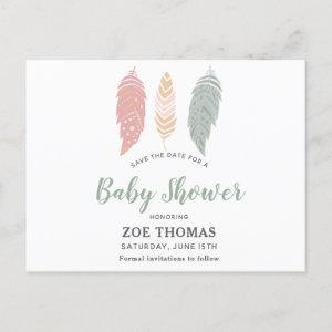 Feathers Floral Boho Baby Shower Save The Date Invitation Postcard