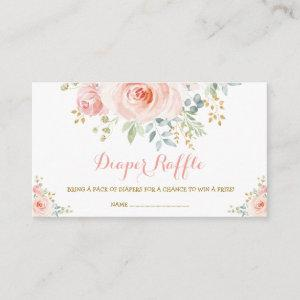 Feminine Boho Blush Floral Pink Roses Baby Shower Enclosure Card