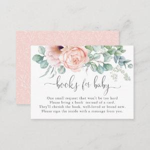 Feminine Pastel Pink Books for Baby Enclosure Card
