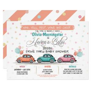 Festive Coral Drive By Baby Shower Parade Invitation