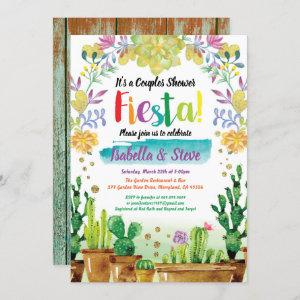 Fiesta couples shower invitation with cactuc