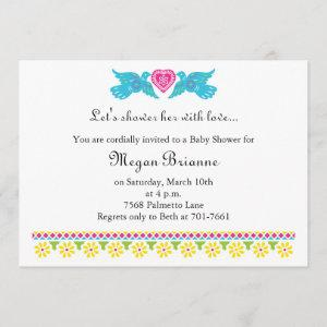 Fiesta de Bebe Colorful Love Birds Invitation