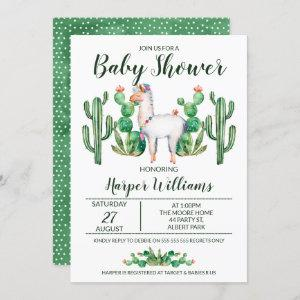 Fiesta Llama Watercolor Baby Shower Invitation