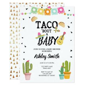 Fiesta Taco Bout Love Cactus Gold Baby Shower Invitation