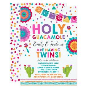 Fiesta Twin Baby Shower Invitation Holy Guacamole