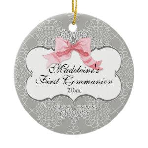 First Communion Ornament - French Bow Swirl