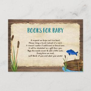Fishing boy baby shower book request inserts