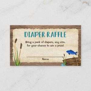 Fishing boy baby shower diaper raffle cards