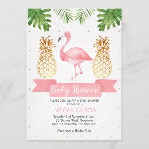 Flaming Gold Pineapple Baby Shower Invitation