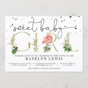 Flamingo Baby Shower  with Palm Leaves