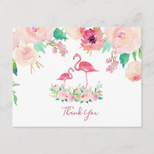 Flamingo Baby shower Thank you Invitation