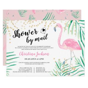 Flamingo gold glitter watercolor shower by mail invitation