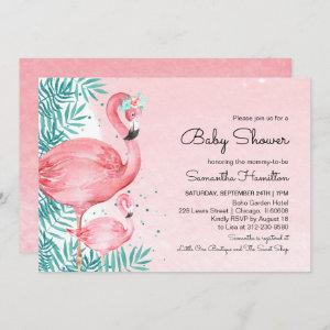 Flamingo & Tropical Leaves Watercolor Baby Shower Invitation