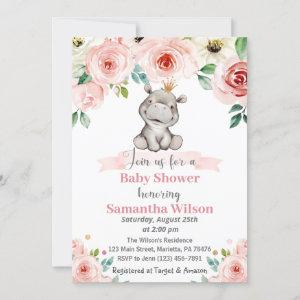 Floral Baby Hippo Princess Baby Shower