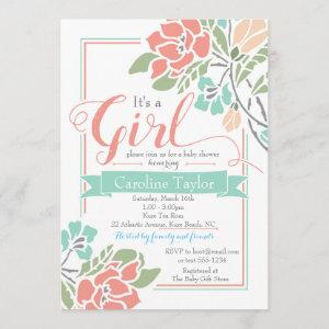 Floral Baby Shower  - Coral and Teal