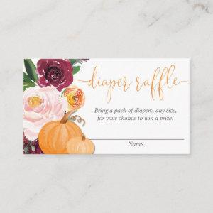 Floral burgundy fall pumpkins diaper raffle cards