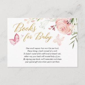 Floral Butterfly girl baby shower book request Enclosure Card