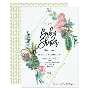 floral cactus geometric baby shower invitation