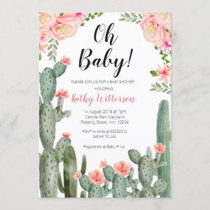 Floral Cactus Succulent oh baby shower