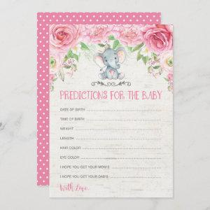 Floral Elephant Baby Shower Game Predictions Card