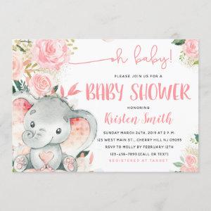 Floral Elephant Baby Shower Invitations for a Girl