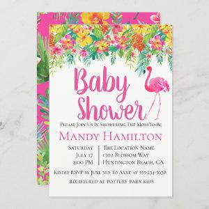 Floral Flamingo Tropical Baby Shower Invitation
