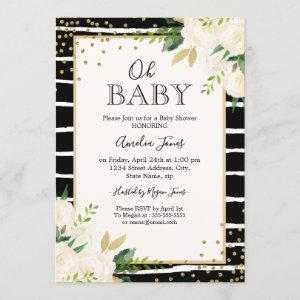 Floral Gold Black White Oh Baby Shower