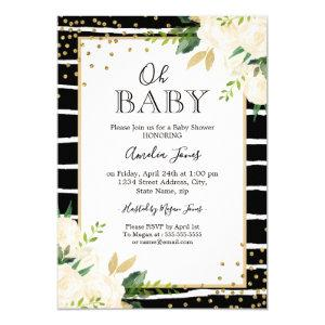 Floral Gold Black White Oh Baby Shower Invitation