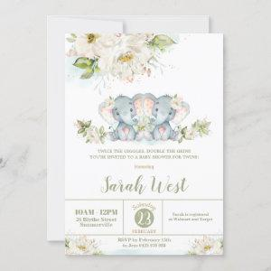 Floral Greenery Elephant Twin Girls Baby Shower