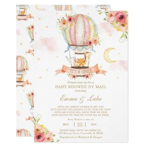 Floral Hot Air Balloon Baby Shower by Mail Animals Invitation