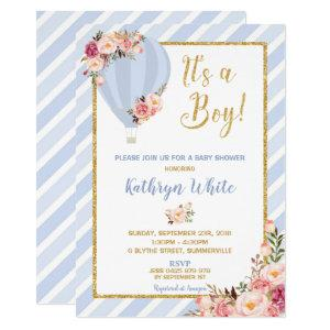 Floral Hot Air Balloon Baby Shower Invitation Boy