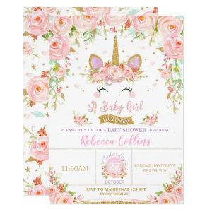 Floral Pink Unicorn Baby Shower Invitation Girl
