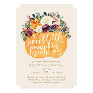 Floral Pumpkin Baby Shower Invitation