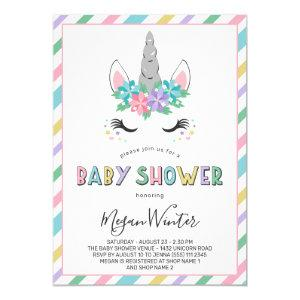 Floral Unicorn Pastel Baby Shower Invitation