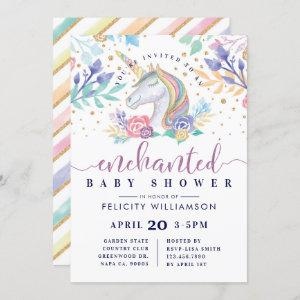 Floral Watercolor Unicorn Baby Shower