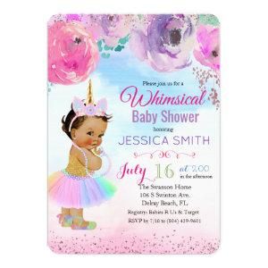 Floral Watercolor Unicorn Baby Shower Invitation